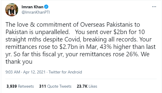 Rich results on Google SERP when searching for 'Overseas Pakistani's Remittances'