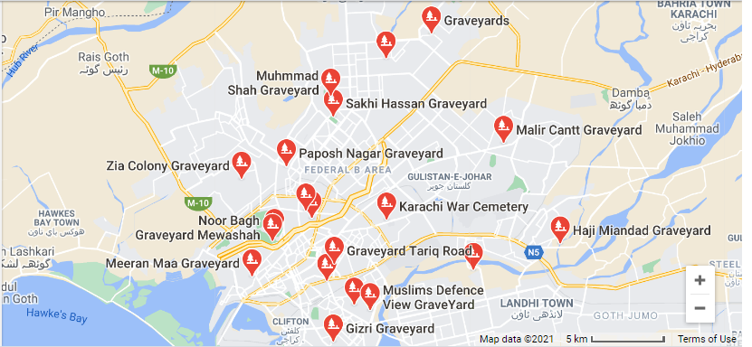 Rich results on Google SERP when searching for 'Graveyards in Karachi'