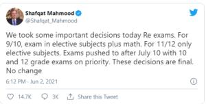 Shafqat Mehmood tweets
