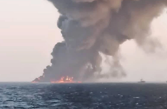 Naval ship catches fire