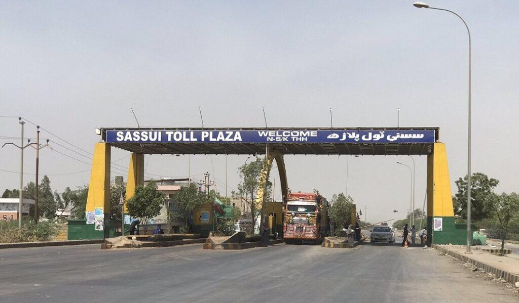 Sassui toll plaza on Thatta Karachi road